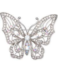 Nina - Silver-tone Crystal Open Butterfly Pin - Lyst
