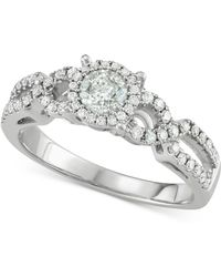 Macy's - Diamond Halo Overlap Engagement Ring (3/4 Ct. T.w.) In 14k White Gold - Lyst