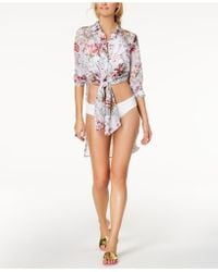 Carmen Marc Valvo - Floral Printed Shirt Cover-up - Lyst