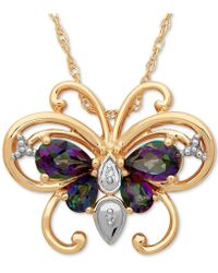 Macy's - Mystic Topaz (1-3/8 Ct. T.w.) & Diamond (1 Ct. T.w.) Two-tone Butterfly Pendant Necklace In 14k Gold - Lyst