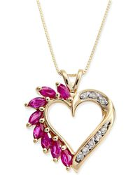 Macy's - Ruby (3/4 Ct. T.w.) & Diamond Accent Heart Pendant Necklace In 14k Gold - Lyst