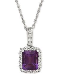 Macy's - Blue Topaz (2-3/4 Ct. T.w.) & White Topaz (5/8 Ct. T.w.) Pendant Necklace In Sterling Silver(also Available In Amethyst - Lyst