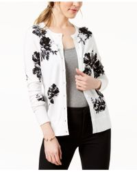 Charter Club - Floral-print Appliqué-detail Cardigan, Created For Macy's - Lyst