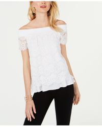 6986b7ff58dde Lyst - INC International Concepts Off-the-shoulder Lace Top in Pink