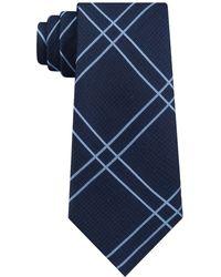 DKNY - Linear Plaid Slim Silk Tie - Lyst
