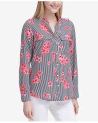 Calvin Klein - Striped Floral-print Shirt - Lyst