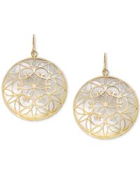 Macy's - Mother-of-pearl Filigree Medallion Drop Earrings In 14k Gold - Lyst