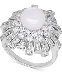 Arabella - Cultured Freshwater Pearl (8mm) & Swarovksi Zirconia Ring In Sterling Silver - Lyst