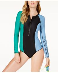 Volcom - Colorblocked Long-sleeve Swimsuit - Lyst