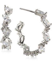 Carolee | Silver-tone Marquise Crystal Hoop Earrings | Lyst