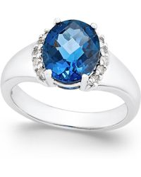 Macy's - London Blue Topaz (3-1/5 Ct. T.w.) And Diamond (1/6 Ct. T.w.) In Sterling Silver - Lyst