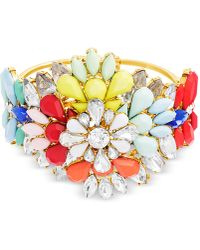 Steve Madden - Gold-tone Stone & Crystal Floral Bangle Bracelet - Lyst
