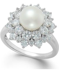 Arabella - Cultured Freshwater Pearl (8mm) And Swarovski Zirconia Ring In Sterling Silver - Lyst