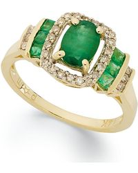 Macy's - Sapphire (1-3/8 Ct. T.w.) And Diamond (1/5 Ct. T.w.) Ring In 14k White Gold(available In Emerald) - Lyst