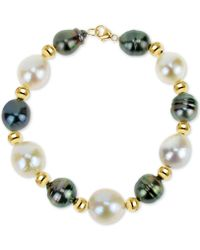 Macy's - Cultured Baroque Freshwater Pearl (12-13mm) And Black Tahitian Pearl (8-10mm) Bracelet In 14k Gold - Lyst