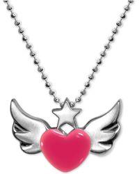 """Alex Woo - Enamel Rainbow Winged Heart 16"""" Pendant Necklace In Sterling Silver - Lyst"""