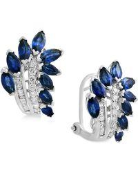 Effy Collection - Sapphire (3-1/10 Ct. T.w.) & Diamond (1/4 Ct. T.w.) Drop Earrings In 14k White Gold - Lyst