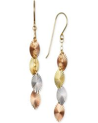 Macy's - Tri-color Swiss-cut Drop Earrings In 10k Yellow, White And Rose Gold - Lyst