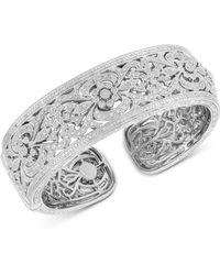 Macy's - Diamond Filigree Cuff Bangle Bracelet (1/2 Ct. T.w.) In Sterling Silver - Lyst