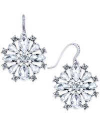 Charter Club - Silver-tone Crystal Drop Earrings - Lyst