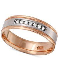 Macy's - Men's Diamond Two-tone Band (1/4 Ct. T.w.) In 10k Gold And White Gold Or 10k Rose Gold And White Gold - Lyst