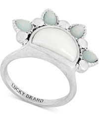 Lucky Brand - Silver-tone Stone & Imitation Pearl Sunrise Ring - Lyst