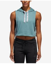 adidas - Fighter Sleeveless Cropped Hoodie - Lyst