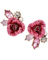 Betsey Johnson - Gold-tone Glitter Rose Mismatch Stud Earrings - Lyst