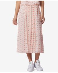 Avec Les Filles - Constellation-print Pleated Side-button Midi Skirt - Lyst