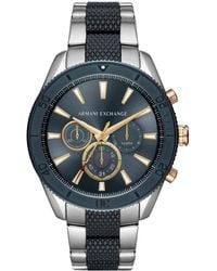 b3be8a981bc Armani Exchange - Chronograph Two-tone Stainless Steel Bracelet Watch 46mm  - Lyst