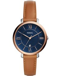 Fossil - Women's Jacqueline Brown Leather Strap Watch 36mm - Lyst