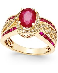 Macy's - Ruby (2-3/4 Ct. T.w.) And Diamond (1/3 Ct. T.w.) Statement Ring In 14k Gold - Lyst