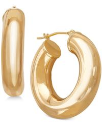 Macy's - Polished Tube Hoop Earrings In 14k Gold - Lyst