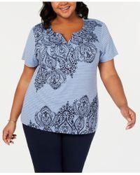 97ba49f04fd Lyst - Karen Scott Plus Size Striped Embellished Top