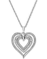 Macy's - Diamond Heart Openwork Pendant Necklace (1/2 Ct. T.w.) In 14k White Gold - Lyst