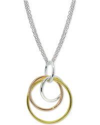 Giani Bernini - Tricolor Interlocking Circle Pendant Necklace In Sterling Silver - Lyst