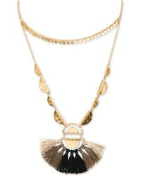 """Lonna & Lilly - Gold-tone Charm Bead & Tassel 40"""" Adjustable Double-row Necklace - Lyst"""