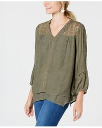 Style & Co. - Lace-yoke Handkerchief-hem Top, Created For Macy's - Lyst