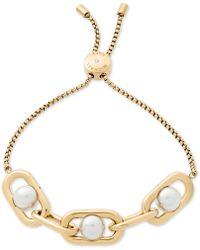 Michael Kors - Gold-tone Imitation Pearl Large Link Slider Bracelet - Lyst