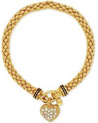 Nine West - Weave-style Pavé Heart Charm Stretch Bracelet - Lyst