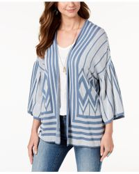 Style & Co. - Cotton Printed Drop-sleeve Cardigan, Created For Macy's - Lyst