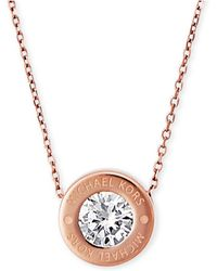 Michael Kors | Bezel Set Crystal Logo Pendant Necklace | Lyst