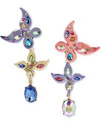 Betsey Johnson - Multi-tone Multi-stone Butterfly Mismatch Drop Earrings - Lyst