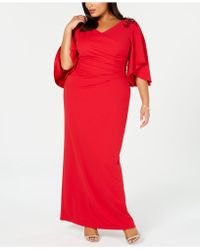 Adrianna Papell - Plus Size Embellished Draped Gown - Lyst