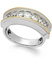 Macy's - Men's Two-tone Diamond Band In 10k Gold (1-1/2 Ct. T.w.) - Lyst