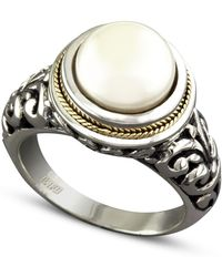 Effy Collection - Cultured Freshwater Pearl Scroll Sides Ring In Sterling Silver And 18k Gold - Lyst