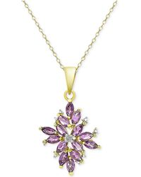 Macy's - 18k Gold-plated Multi-stone Cluster Pendant Necklace - Lyst