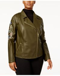 INC International Concepts | Plus Size Embroidered Faux-leather Jacket | Lyst