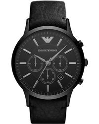 Emporio Armani - Watch, Men's Chronograph Black Leather Strap 46mm Ar2461 - Lyst