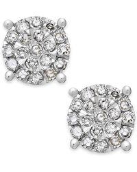 Macy's - Diamond Cluster Stud Earrings In Sterling Silver (1/4 Ct. T.w.) - Lyst